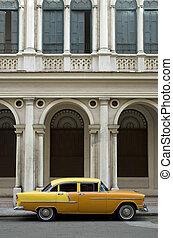 vecchio, giallo, americano, automobile