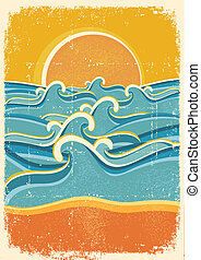 vecchio, giallo, carta sabbia, mare, onde, spiaggia,...