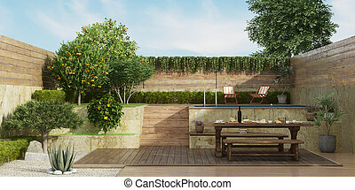 vecchio, giardino, pavimento, ponte, due, cenando, livelli, tavola