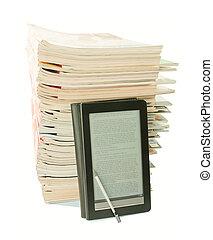 vecchio, giornali, dietro, libro, fondo, bianco, elettronico...