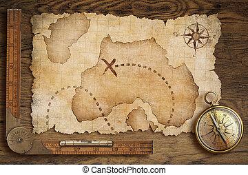 vecchio, governatore legno, mappa tesoro, bussola, tavola, invecchiato, bronzo