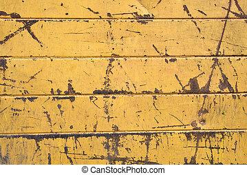 vecchio, graffiato, giallo, colorare, piastra metallo