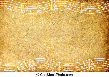 vecchio, grunge, carta, e, nota musica, con, spazio