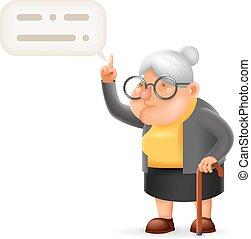 vecchio, guida, carattere, illustrazione, insegnante, vettore, disegno, nonna, saggio, signora, cartone animato, 3d