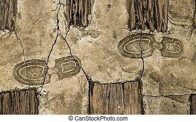 vecchio, impronta, di, orma, su, pavimento cemento, fondo
