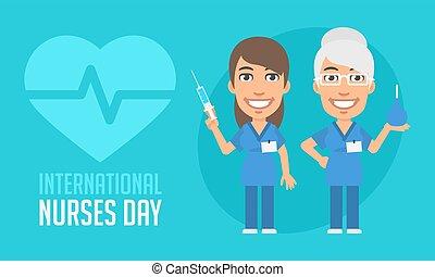 vecchio, infermiere, giovane, internazionale, infermiera, giorno