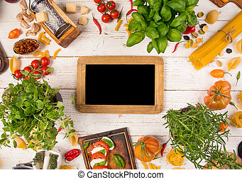 vecchio, ingredienti, cibo, legno, fondo, italiano