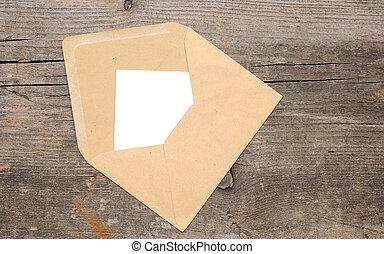 vecchio, legno, busta, carta, fondo, vuoto
