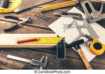 vecchio, legno, carpentiere, officina, bricolage, tavola, attrezzi
