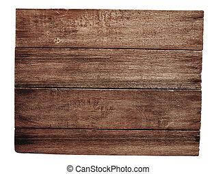 vecchio, legno, cartello, isolato, bianco