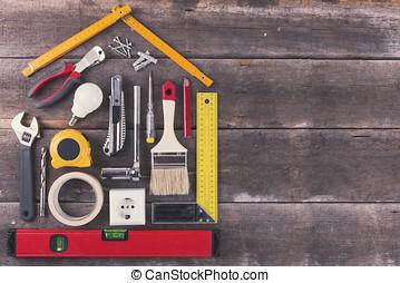 vecchio, legno, casa, miglioramento, bricolage, fondo, attrezzi, Rinnovamento