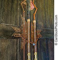 vecchio, legno, catena, arrugginito, porta, lucchetto