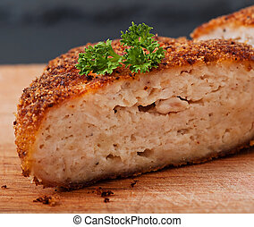 vecchio, legno, cibo., cotoletta, fondo, pollo
