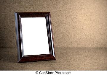 vecchio, legno, cornice foto, fondo, grunge