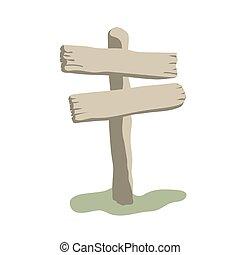 vecchio, legno, due, segno, forme, freccia