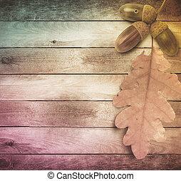 vecchio, legno, foglie, autunno, luminoso, fondo, grunge