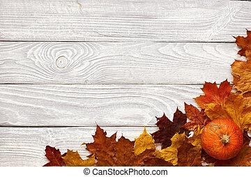 vecchio, legno, foglie, autunno, zucche, fondo, sopra