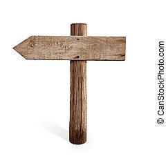 vecchio, legno, freccia sinistra, segno strada, isolato