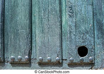 vecchio, legno, gatto, animali domestici, porta, buco