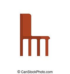 vecchio, legno, illustrazione, isolated., vettore, sedia, mobilia