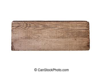 vecchio, legno, isolato, asse, fondo, bianco
