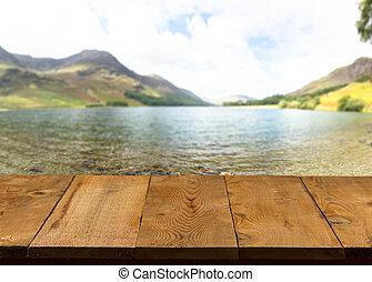 vecchio, legno, lago, passerella, tavola, o