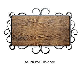 vecchio, legno, piastra, o, segno, in, metallo, cornice, isolato