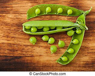 vecchio, legno, piselli dolci, fondo., verde