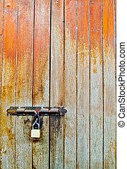vecchio, legno, porta, lock1
