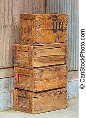 vecchio, legno, scatole