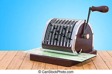 vecchio, legno, scrittore, interpretazione, tavola., assegno, banca, 3d