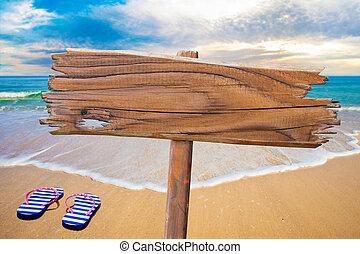 vecchio, legno, segno spiaggia