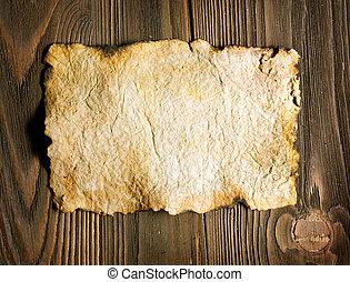 vecchio, legno, sopra, carta, fondo, foglio