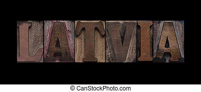 vecchio, legno, tipo, lettonia