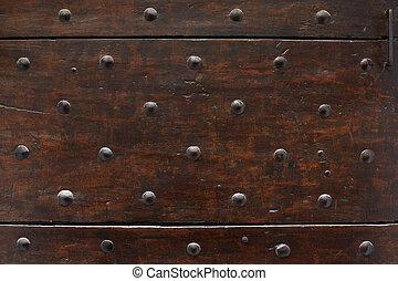 vecchio, legno, unghia, struttura, fondo, porta