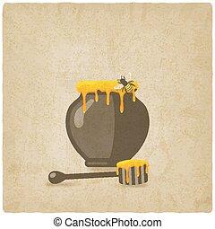 vecchio, legno, vaso, ape, mestolo miele, fondo