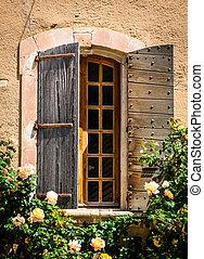vecchio, legno, vendemmia, dettaglio, rose, finestra, selvatico