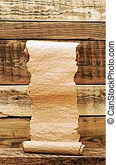 vecchio, legno, vendemmia, parete, rotolo carta