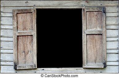 vecchio, legno, windows