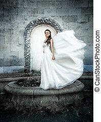 vecchio, lei, giovane, sposa, mentre, proposta, castello, velo, soffio, vento