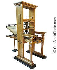 vecchio, letterpress, vendemmia, manuale, isolato, macchina, stampa, fondo, bianco