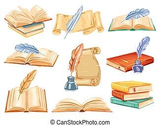 vecchio, libro, acquarello, penna, carta, penna, rotolo