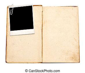 vecchio, libro, con, vendemmia, foto