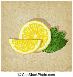 vecchio, limone, fondo