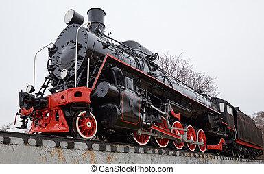 vecchio, locomotiva classica, decorazione, nero, vista frontale, vapore, rosso, lato