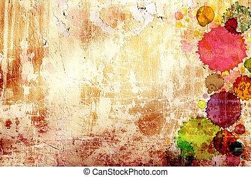 vecchio, macchie, parete, struttura, vernice, stucco