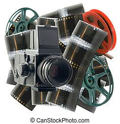 vecchio, macchina fotografica, e, bobine
