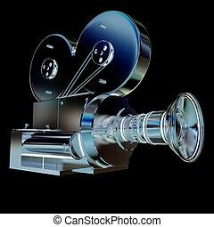vecchio, macchina fotografica., render, 3d