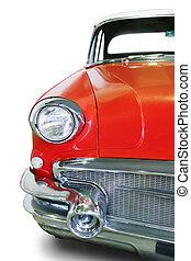 vecchio, macchina rossa, isolato