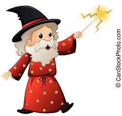vecchio, mago, con, bacchetta magica